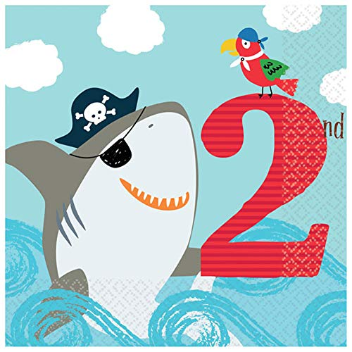 (Amscan Ahoy Pirate Shark 2nd Birthday Luncheon Napkin, 36 Count)