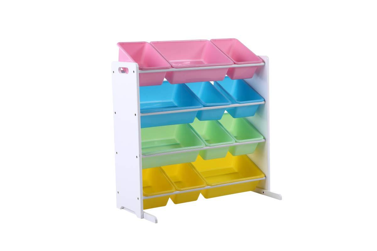 Phoenix Home CP190209 Pastel Collection Kids' Toy Storage Organizer with 12 Plastic Bins, Pstel/White