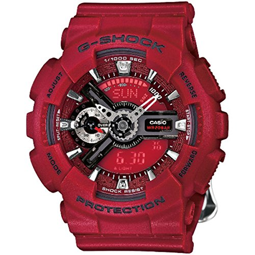 Casio G-Shock S Series Floral Red Dial Resin Quartz Ladies Watch GMAS-110F-4A