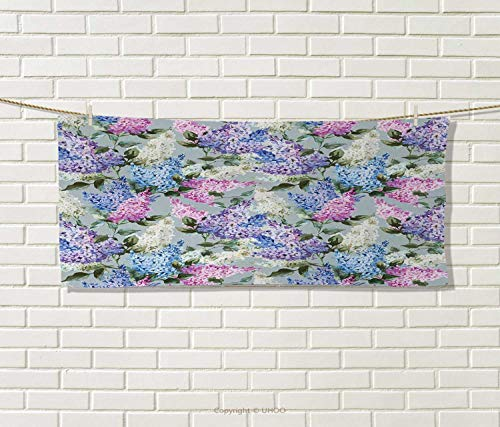 Mission Pattern Leaf (Anniutwo Mauve,Hand Towel,Various Mix Hyacinth Garden Flowers Leaf Branches Summer Botanic Plants,Quick-Dry Towels,Lilac Fuchsia Size: W 20
