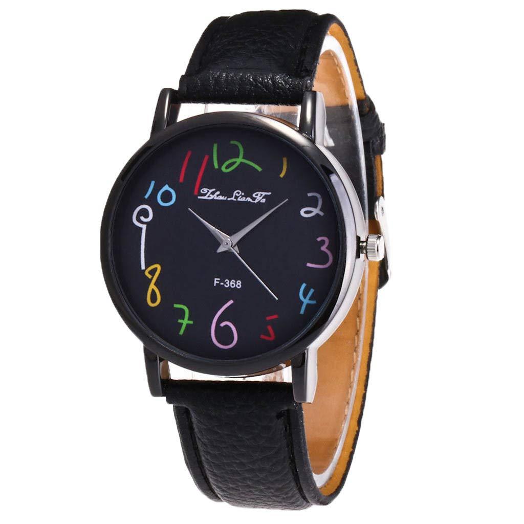 Ladies Watch WoCoo Fashion Analog Quartz Cartoon Pointer Dial Wrist Watch with Leather Strap Watches Gifts (Black)