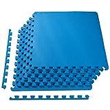 BalanceFrom Puzzle Exercise Mat with EVA Foam Interlocking Tiles, Blue
