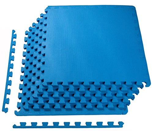 BalanceFrom Puzzle Exercise Mat with EVA Foam Interlocking Tiles, (Blue Polished Flooring)