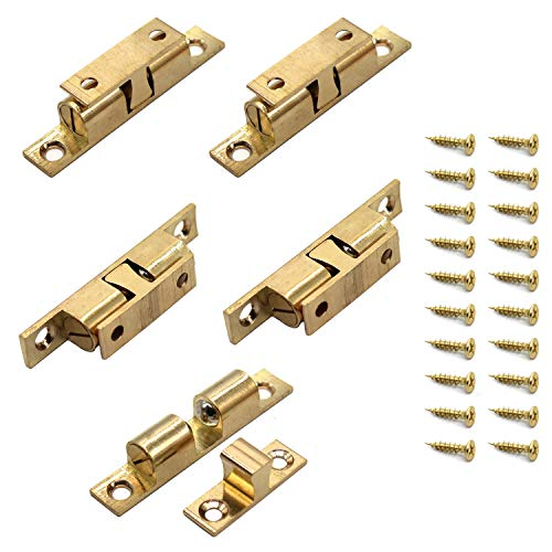- 70MM Ball Catch Ekatoo Set of 5 Solid Brass Adjustable Double Ball Tension Roller Catch Latch Hardware Fitting for Cabinet Closet Furniture Door with Screws