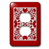 3dRose Russ Billington Designs - Hearts and Flowers Tile Design in Red and White - Light Switch Covers - 2 plug outlet cover (lsp_262266_6)
