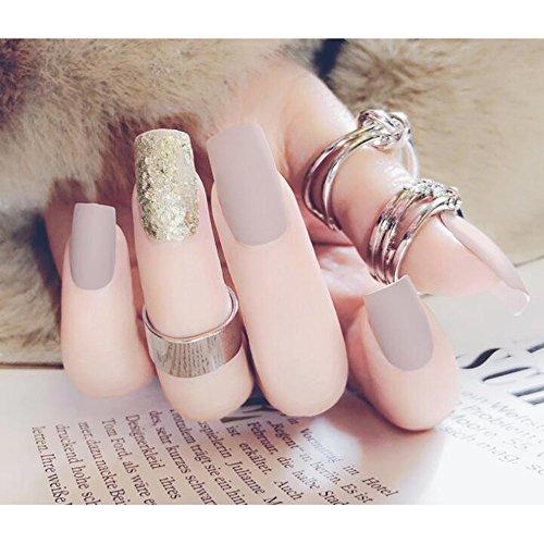 Dongcrystal 24pcs Gray Matte French Fake Nails Long Full Cover Bling