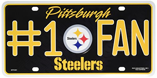 Pittsburgh Steelers #1 Fan NFL Embossed Aluminum Automotive Novelty License Plate Tag -