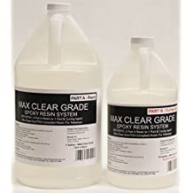 MAX CLEAR GRADE Epoxy Resin System - 1.5 Gallon Kit - Food Safe, FDA Compliant Coating, Crystal Clear, Stain Resistant, Countertop and Tabletop Coatings, Wood Coatings, Fiberglassing Resin