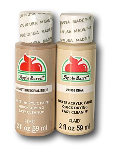Apple Barrel Acrylic Paint Dark Flesh Tones Set - Khaki & Territorial Beige (2 Ounces Each)