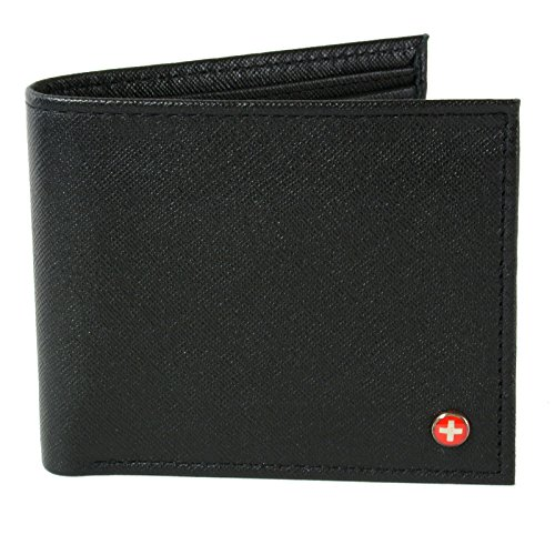 Black Leather Logo Pouch (Alpine Swiss Mens Leather Bifold Wallet with Coin Pocket Purse Pouch & 2 Bill Sections Crosshatch Black)