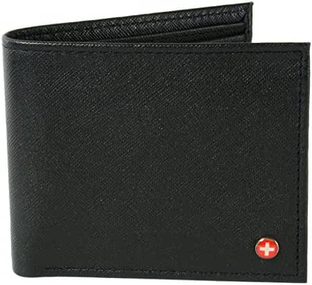 Alpine Swiss Mens Leather Bifold Wallet with Coin Pocket Purse Pouch & 2 Bill Sections