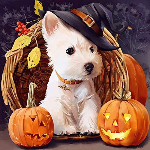 Diamond Painting by Number Kit, LPRTALK 5D DIY Diamond Painting Halloween Full Round Drill Pumpkin and White Puppie Embroidery for Wall Decoration 12X12 inches (Full Drill)