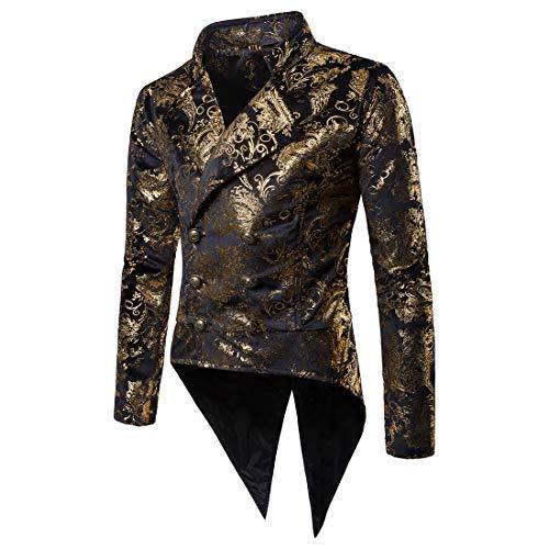WULFUL Men's Luxury Casual Dress Floral Suit Slim Fit Stylish Blazer Jacket Halloween Costume/Tuxedo