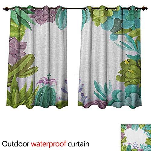 Anshesix Cactus 0utdoor Curtains for Patio Waterproof Succulents Framework Different Types Gardening Bedding Plants Theme Seasonal Image W63 x L63(160cm x 160cm)