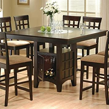 Coaster Hyde Counter Height Square Dining Table With Storage Base In CappuccinoTable Only