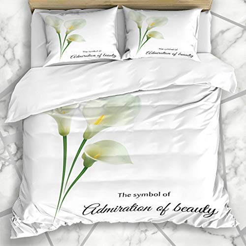 - Ahawoso Duvet Cover Sets King 90x104 Floral Watercolor Flower Realistic White Calla Lily Admire Leaf Your Nature Green Border Bouquet Microfiber Bedding with 2 Pillow Shams