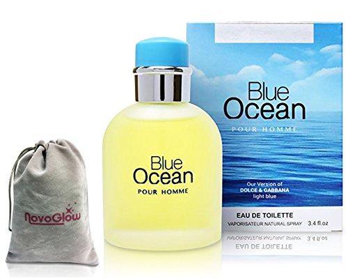 Blue Ocean Eau De Toilette Pefume for Men, 3.4 fl oz/100, Impression by Mirage Brands with a NovoGlow Suede Pouch Included