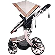 AIMILE Newborn Baby Pram Infant Foldable Anti-shock High View Jogger Stroller Multi-Positon Reclining Seat Stroller Pushchair (Khaki)