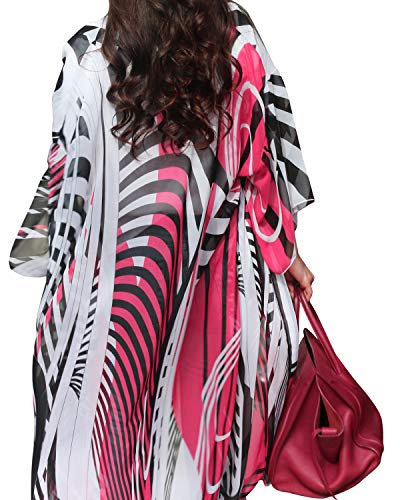 Women Chiffon Swimwear Cover up Swimsuit Bikini Stylish Loose Beach Cover up (One Size, Black and Red Strip) - Black Or Dresses White