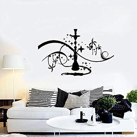 Etiqueta de la Pared de la cachimba Logotipo de la cachimba Ventana de la Pared calcomanía de Vinilo Palma con Estrellas de Fumar Dormitorio Familiar calcomanía Arte Mural 67x42cm