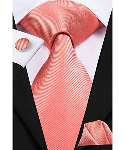 Dubulle Silk Coral Tie and Pocket Square for Wedding Groom Bridegroom ()