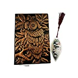 3D Cover Owl Embossed Leather Notebook Journal Handmade Planner Lined Pages Writing Notebook with Panda Bear Bookmark 4 colors (Red Copper)