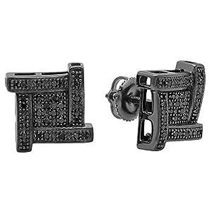 0.15 Carat (ctw) Black Plated Sterling Silver Round Black Diamond Ladies Fancy Stud Earrings