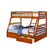 Oak Twin over Full Bunk Bed with Storage Drawers and Solid Wood
