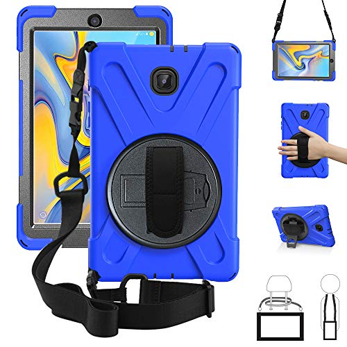 New Galaxy Tab A 8.0 2018 Case,360 Degree Rotatable w/Kickstand,Hand Strap & Shoulder Grip, 3 Layer Hybrid Heavy Duty Shockproof Cover for Samsung Galaxy Tab A 8.0 SM-T387 T387 Verizon/Sprint Blue