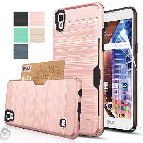 LG Tribute HD Case,LG X Style Case,LG Volt 3 Case With HD Screen Protector,AnoKe [Card Slots Holder][Not Wallet] Plastic TPU Hybrid Shockproof Heavy Duty Case For LS676 KC2 Rose Gold