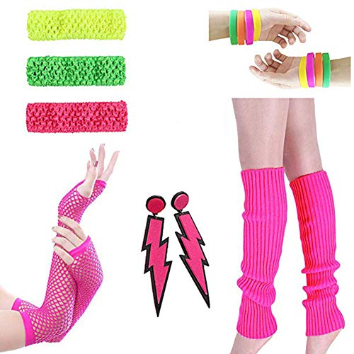 80s Outfit - Womens 80s Fancy Outfit Costumes Accessories Set,Leg Warmers Fishnet Gloves Neon Earrings, Bracelet and Beads (Set 12)