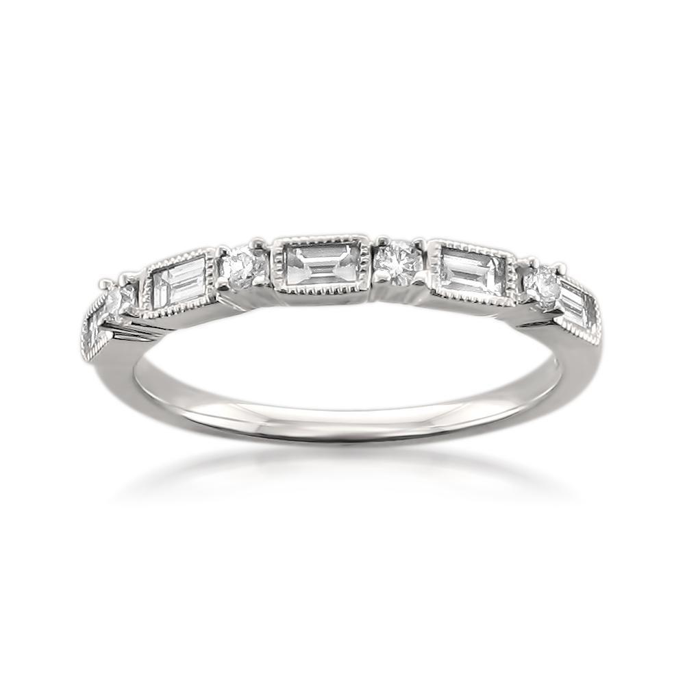 14k White Gold Baguette & Round Diamond Milgrain Bridal Wedding Band Ring (1/2 cttw, I-J, I1-I2), Size 5