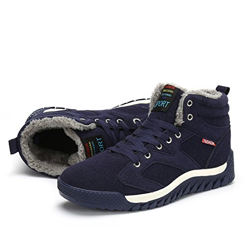Boots Top Snow Dark Blue Fur Boots Lined High Fashion Winter Men's Hiking Bigcount Warm Sneaker xRqwIHEZ