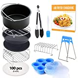 8 inch General Air Fryer Accessories 11 pcs with Recipe Cookbook, Compatible for Over 4.2 Litre Air Fryers, Philips, COSORI, Tower Airfryer, Deluxe Deep Fryer Accessories Set of 12