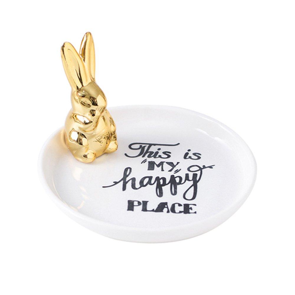 Amazon.com: socosy Chic conejo de cerámica anillo sostenedor ...