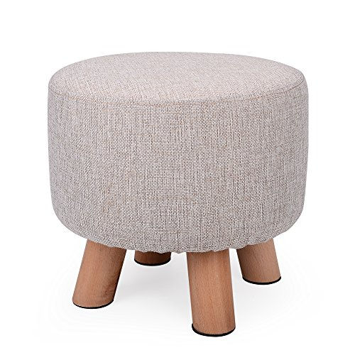 H&B Luxuries Fabric Round Padded Ottoman Foot Rest Stool (4 Legs-Simple Linen)