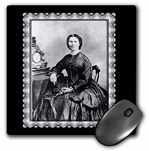 - 3dRose BLN Vintage Photographs of History and People 1800s - 1900s - Clara Barton taken by Mathew Bracy c.1866 Civil War Era Photo of a Woman seated by an Mantle Clock - MousePad (mp_160768_1)