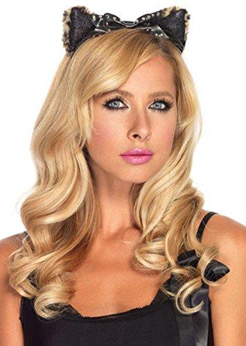 Plush Cheetah Ears Headband with Studded Bow Costume Accessory - Plush Cheetah Ear Headband