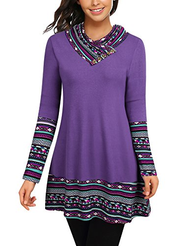 Bebonnie Loose Tunic Tops for Women, Women's Long Sleeve Cowl Neck Patchwork Casual A-Line Flowy Tunics Top Ladies Flattering Blouse Violet Medium