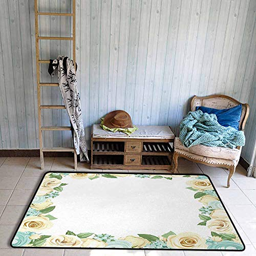 - Floor Rug Pattern Shabby Chic Flowers Roses Leaves Buds Romantic Love Valentines Frame Artwork Easy to Clean W55 xL63 Blue Green and Cream