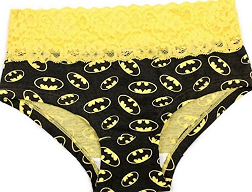 Batman All Over Logo Yellow Lace Womens Underwear Panties Lingerie