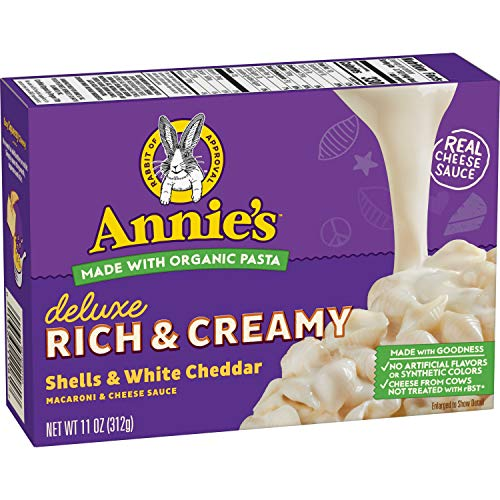 Annie's Deluxe Rich Creamy Shells & White Cheddar Macaroni & Cheese Sauce, 11 oz (Pack of ()