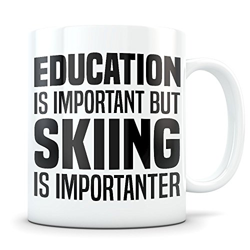 Skiing Mug - Funny Ski Gift for Men and Women - Gag Coffee Cup for Skier Enthusiasts - Best Cross Country Skis Themed Gift Idea