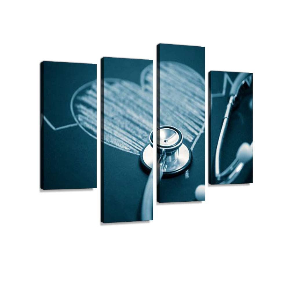 Stethoscope with a Heart Canvas Wall Art Hanging Paintings Modern Artwork Abstract Picture Prints Home Decoration Gift Unique Designed Framed 4 Panel
