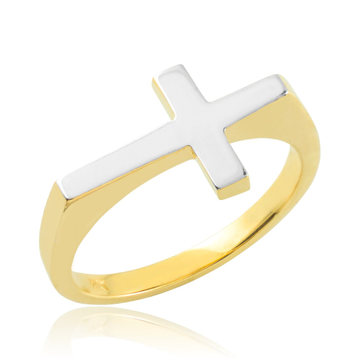 10k Two-Tone Gold High Polish Band Flat Top Sideways Cross Ring (Size 6)
