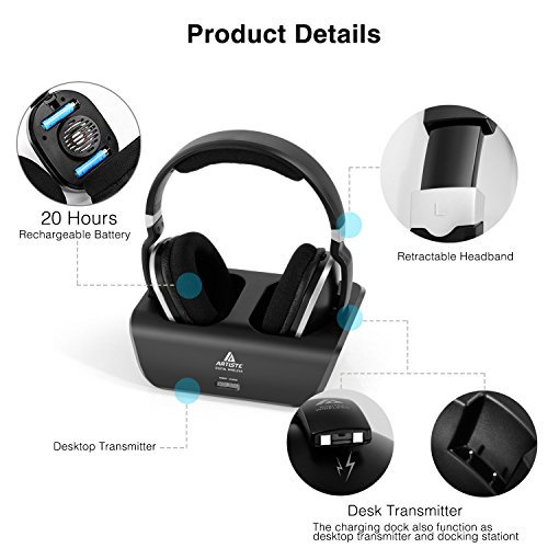 Wireless TV Headphones Over Ear Headsets - Digital Stereo Headsets with 2.4GHz RF Transmitter,...