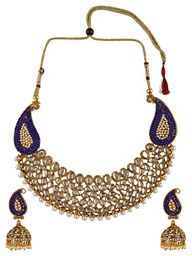 Efulgenz Indian Bollywood Traditional 14 K Gold Plated Crystal Pearl Wedding Choker Necklace Earrings Jewelry Set ()