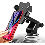 JINGJIA Universal Car Mount Holder for iPhone, Long Neck One Touch Car Mount Holder Compatible iPhone X 8 7 7s 6s Plus 6s, Samsung Galaxy S8 Edge S7 S6 and More (Black)