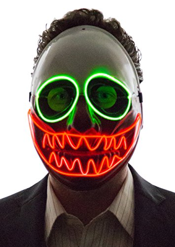 [Neon Nightlife Men's Light Up Creepy Puppet Mask, Green & Red] (Halloween Clown Masks)