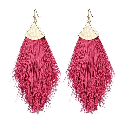 (Tassel Statement Drop Earrings-Bohemian Strand Fringe Lightweight Long Feather Dangles Earrings For Women)